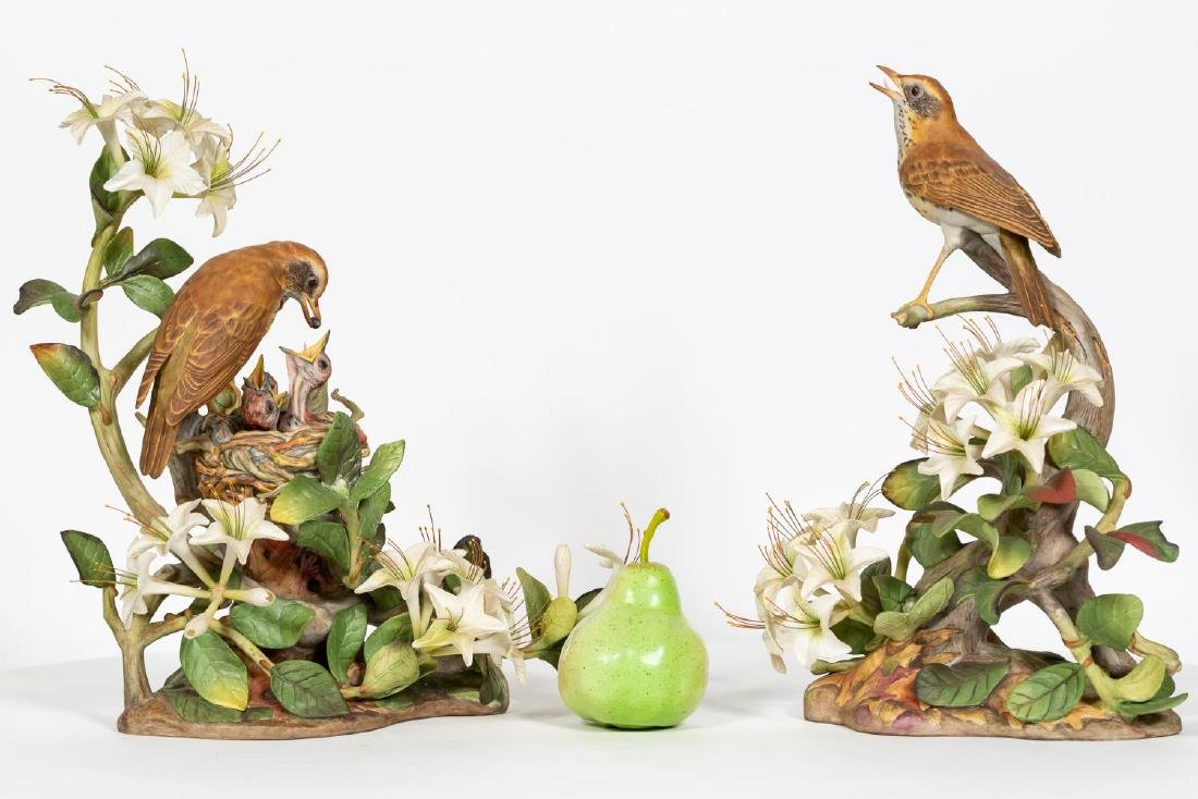 Pair, Boehm Male & Female Wood Thrush Figures