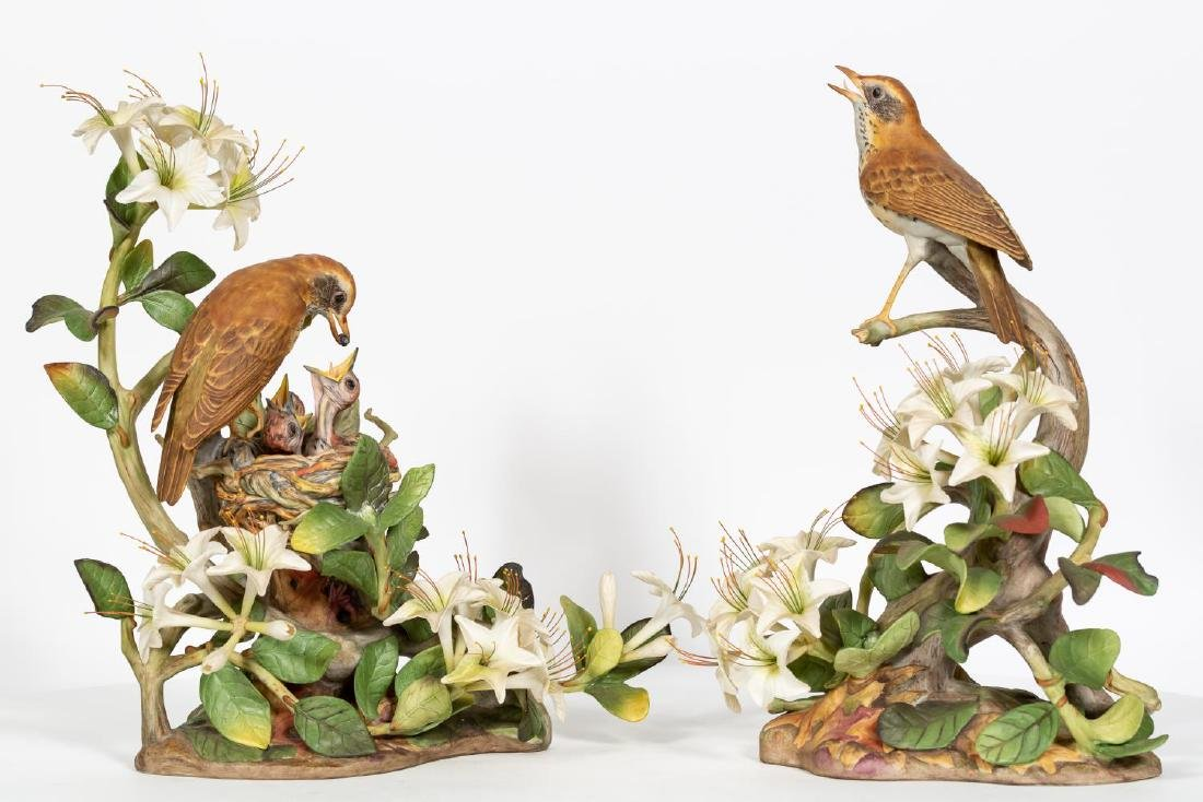Pair, Boehm Male & Female Wood Thrush Figures - 2