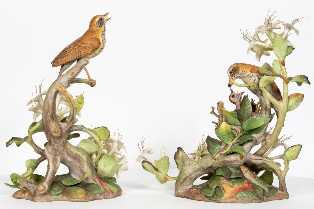 Pair, Boehm Male & Female Wood Thrush Figures - 3