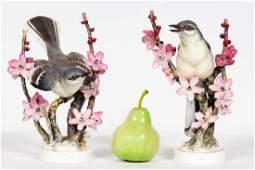Pair, Doughty Mocking Bird Porcelain Figurines