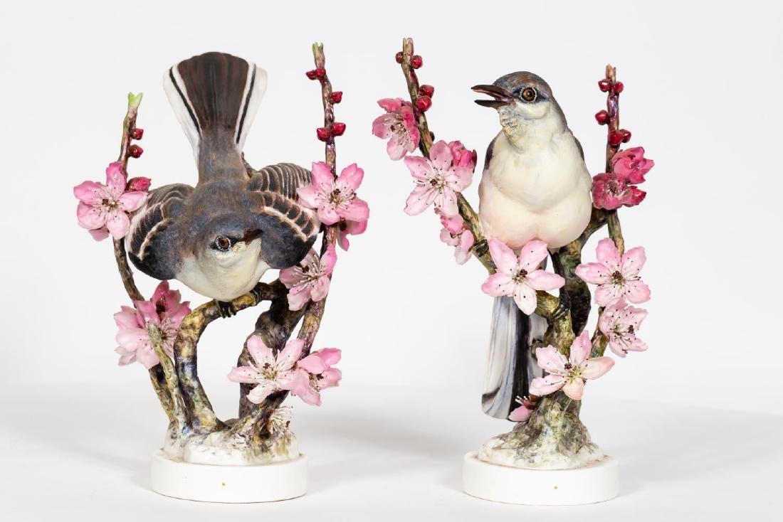 Pair, Doughty Mocking Bird Porcelain Figurines - 2