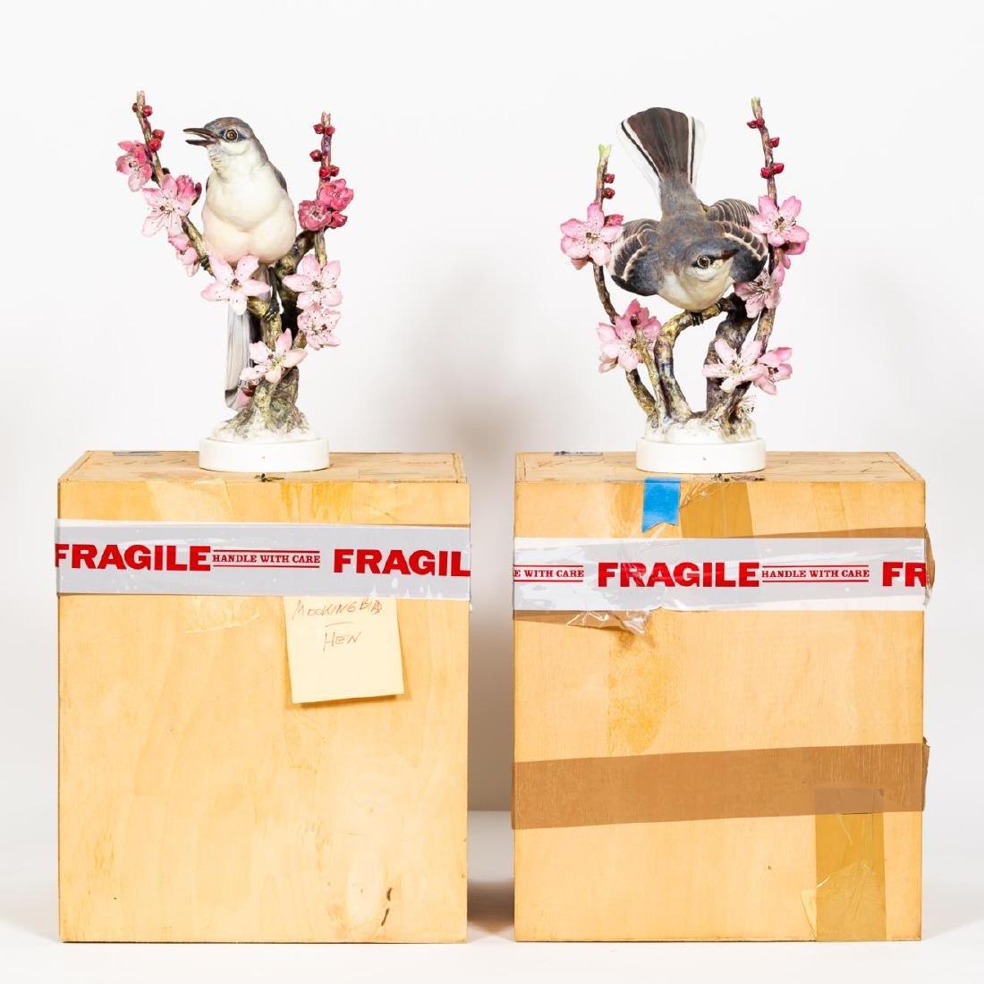 Pair, Doughty Mocking Bird Porcelain Figurines - 7