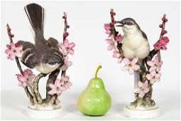 Pair, Doughty Mockingbird Porcelain Figurines