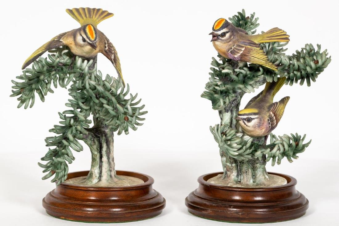 Pair, Doughty Golden Crown Kinglets on Stands - 2