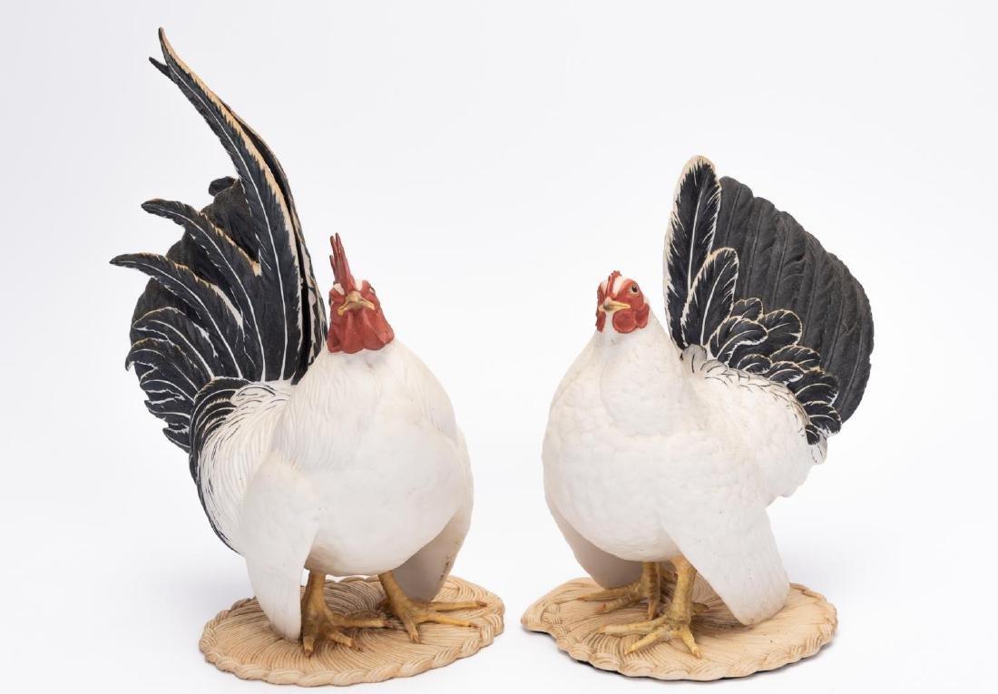 Pair, Boehm Black Tailed Bantam Figurines - 2