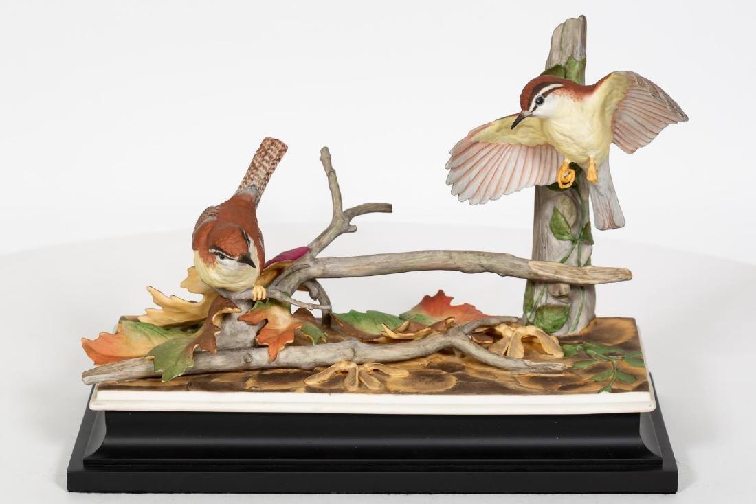 Boehm Carolina Wren Figurines on Black Base - 2