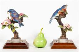 Pair, Doughty Blue Bird Porcelain Figurines