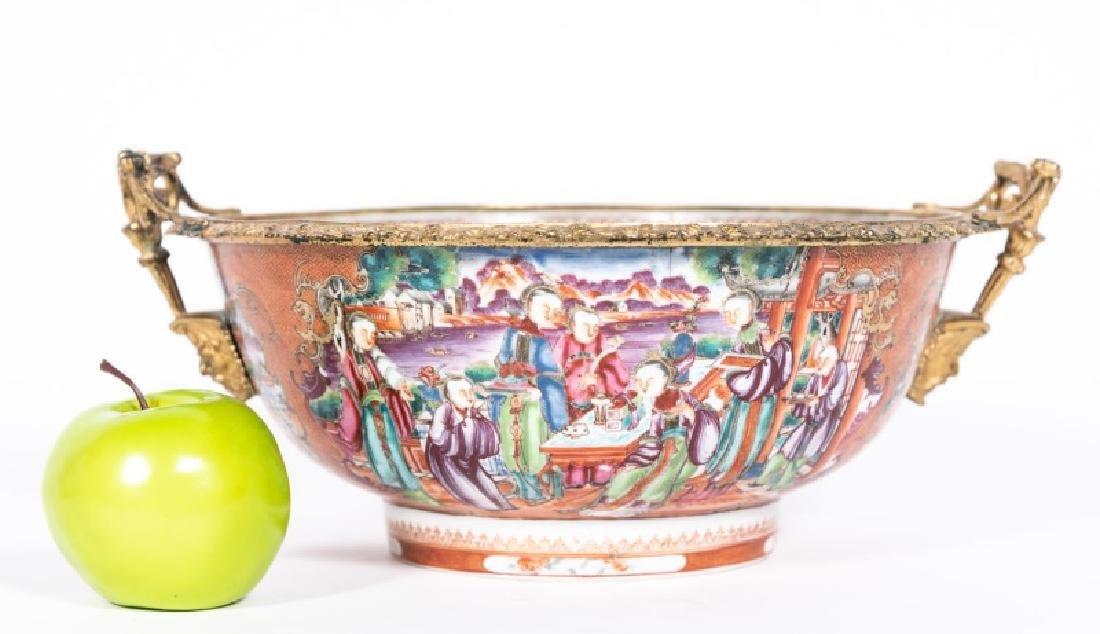 Chinese Export Rose Mandarin Bronze Mounted Bowl