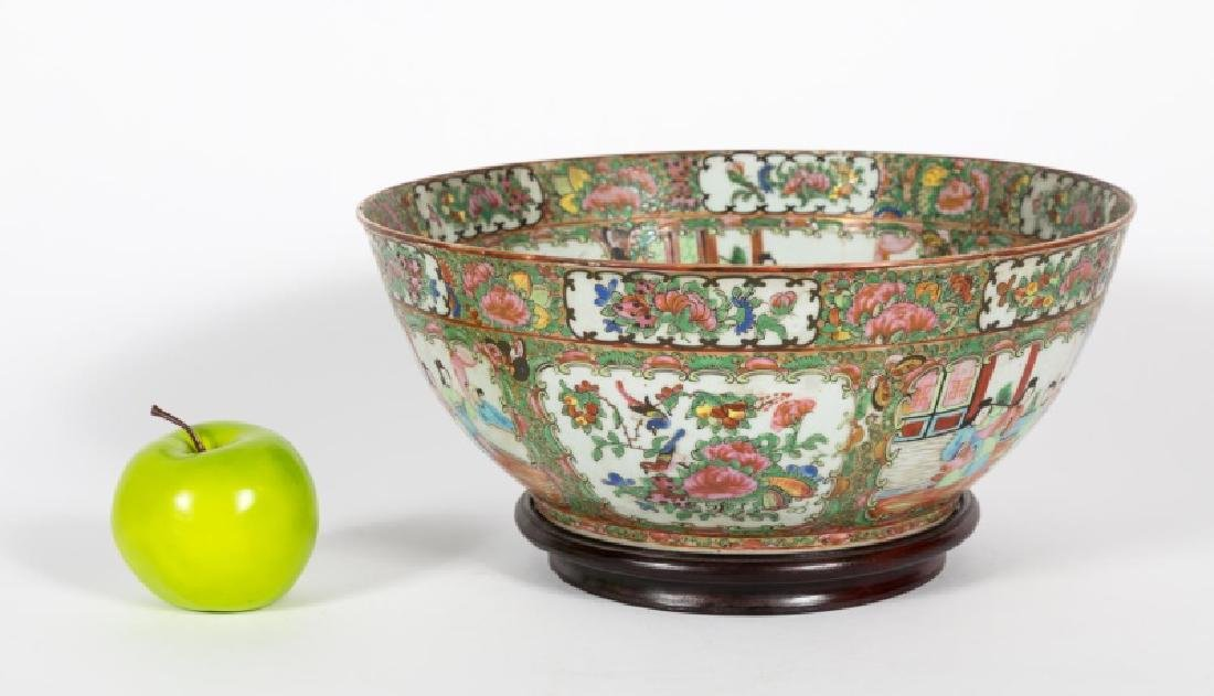 Chinese Rose Medallion Punch Bowl, Late 19th C.