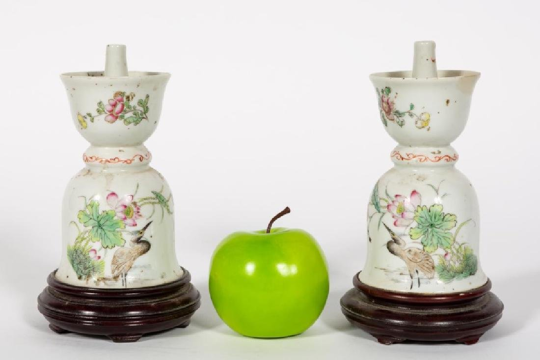 Pair, Chinese Oil Lamps on Wooden Bases