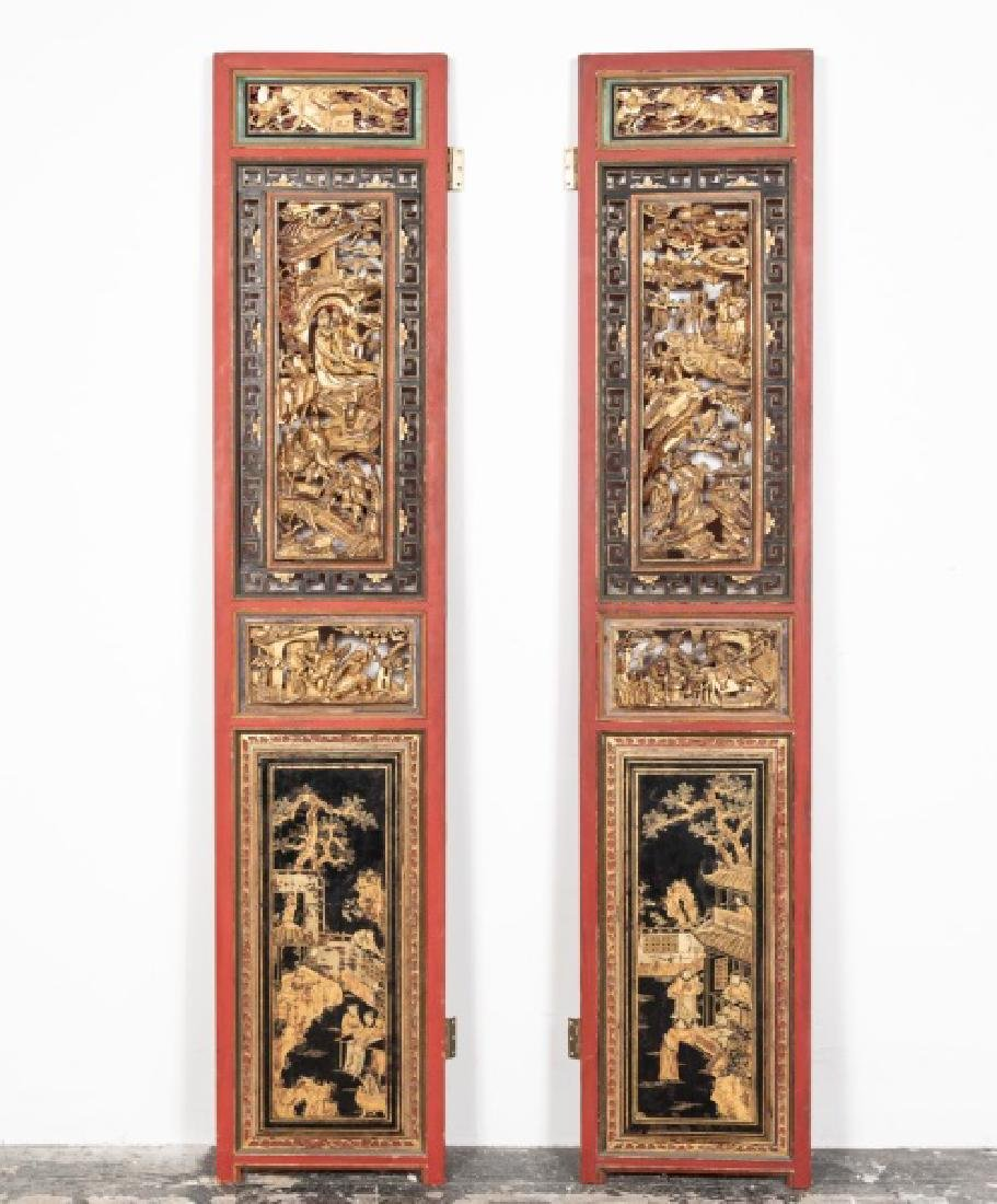 Pair, Chinese Red & Giltwood Carved Panels, 81""