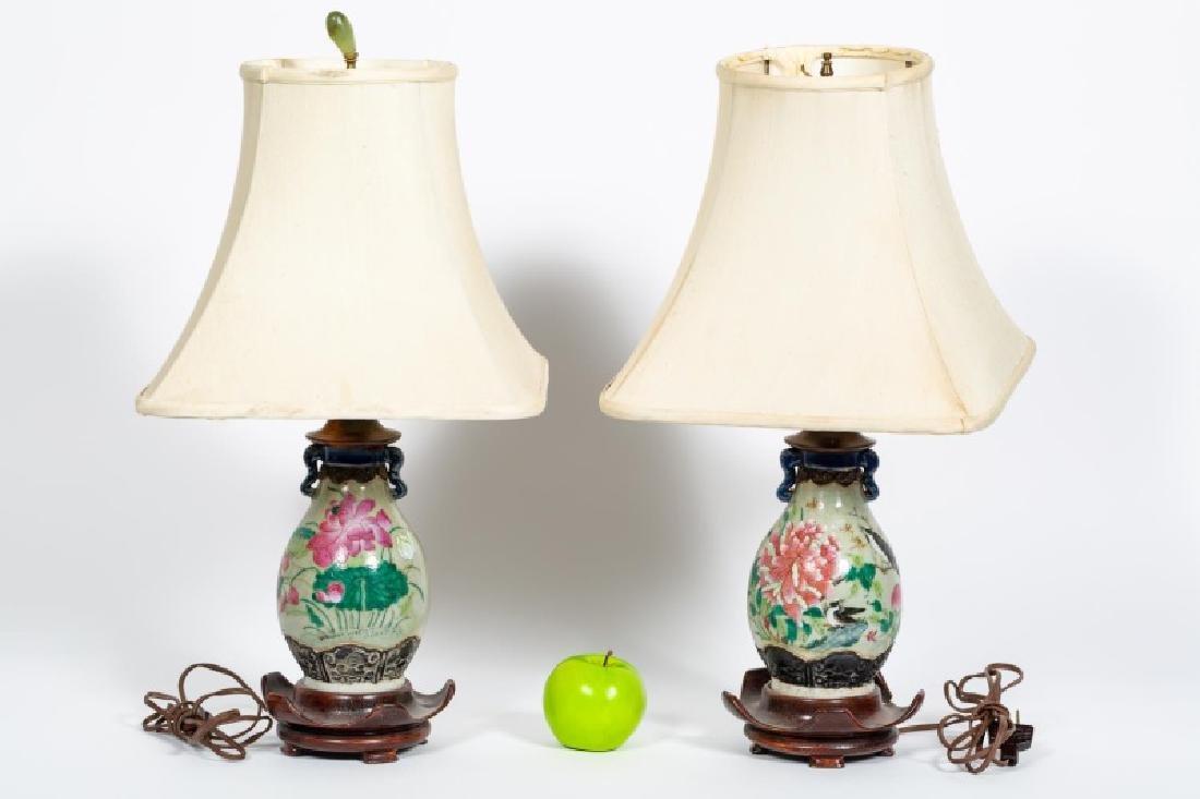 Pair, Porcelain Japanese Floral Motif Table Lamps