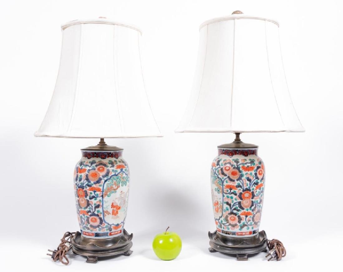 Pair, Japanese Imari Vases Mounted as Table Lamps