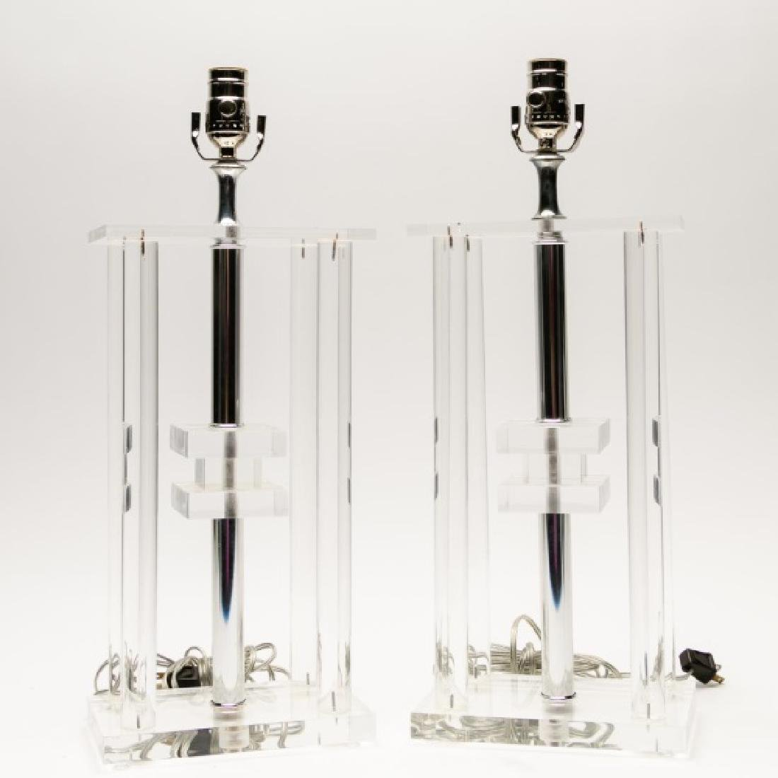 Pair of MCM Lucite & Chrome Table Lamps