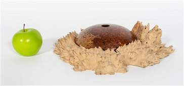 Dan Kvitka 2 PC Burled Wood Bowl & Fitted Stand
