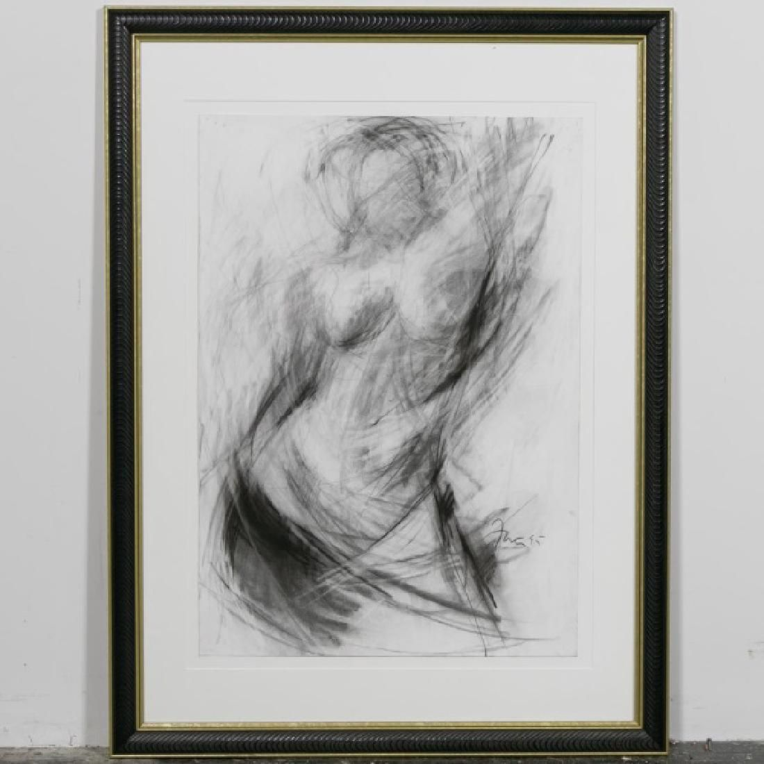 Gail Foster, Large Charcoal Abstract Nude