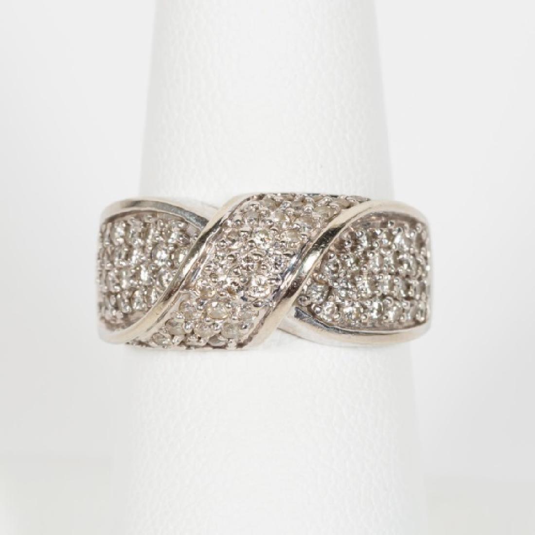 "14k White Gold & Pave Diamond ""X"" Motif Ring"