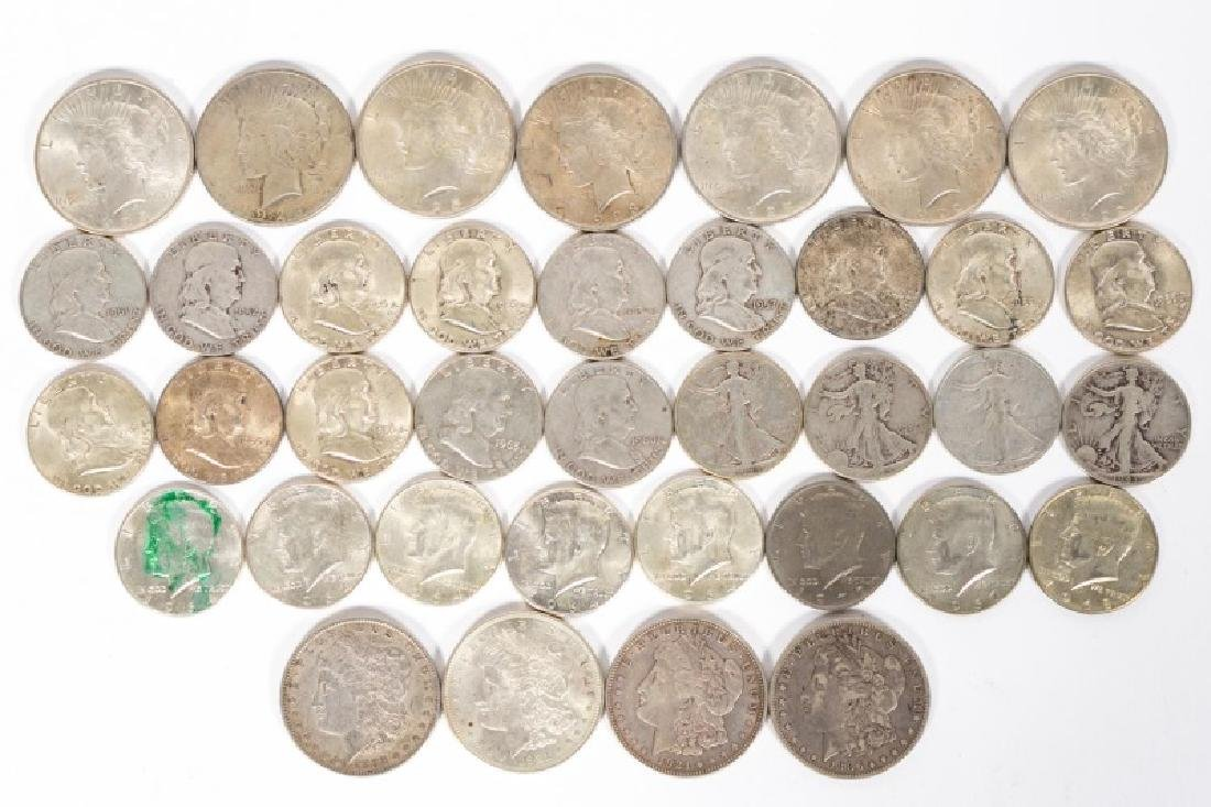 37 Silver Coins, Morgan, Peace, Walking Liberty