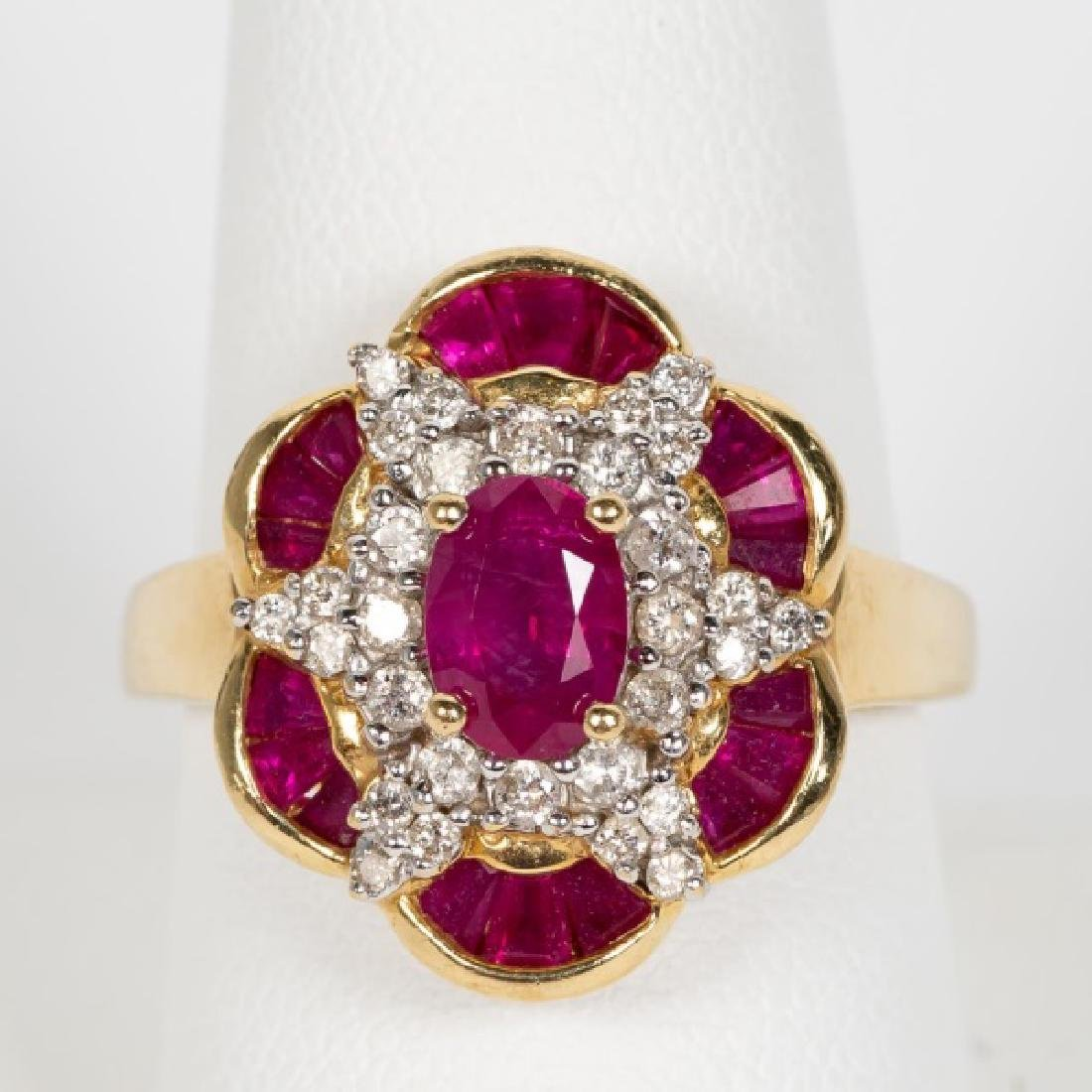 14k Yellow Gold, Ruby, & Diamond Ring