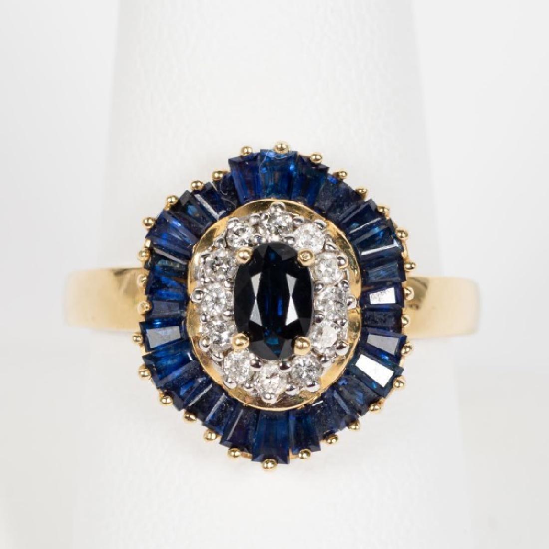 14k Yellow Gold, Sapphire, & Diamond Ring