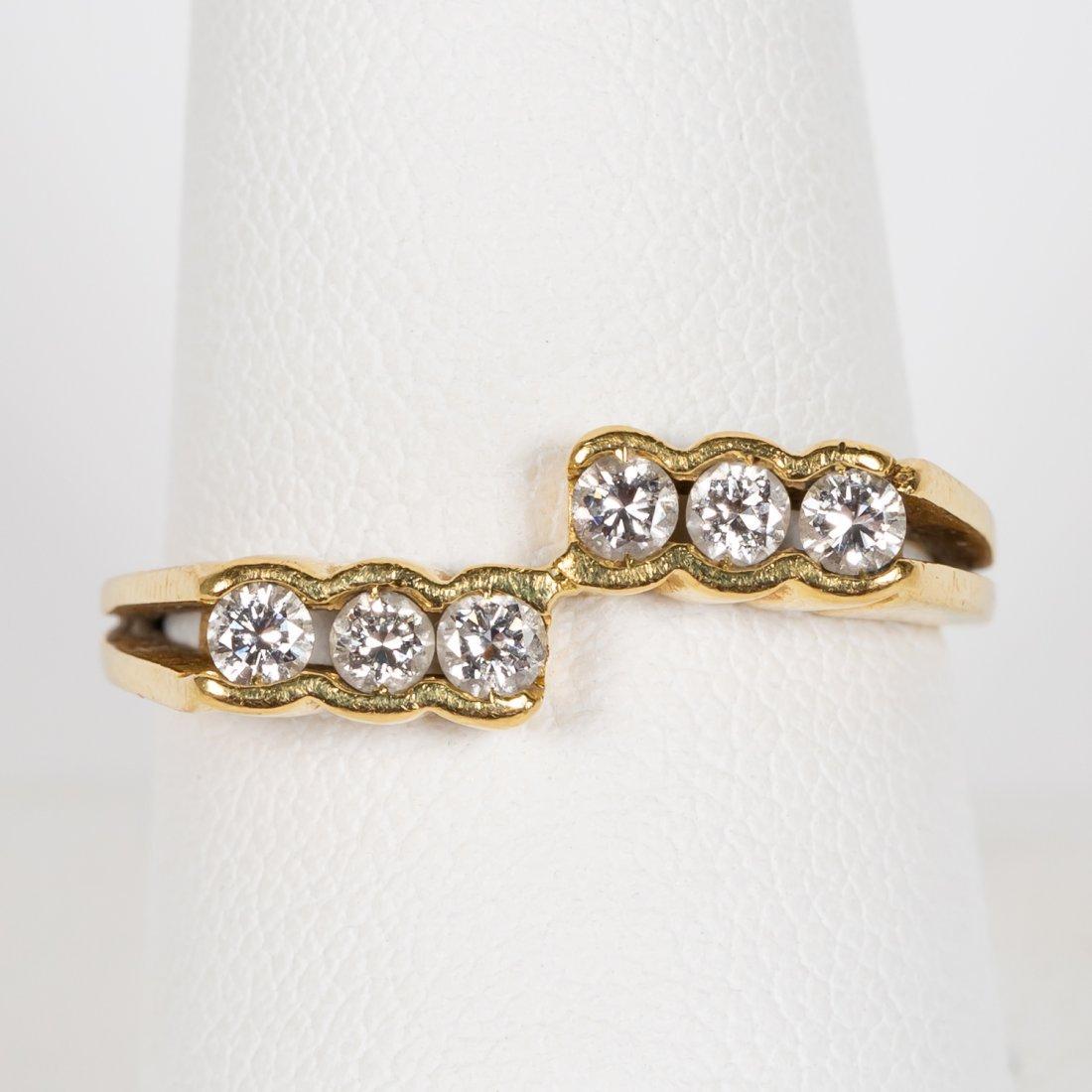 18k Yellow Gold & Six Diamond Ring