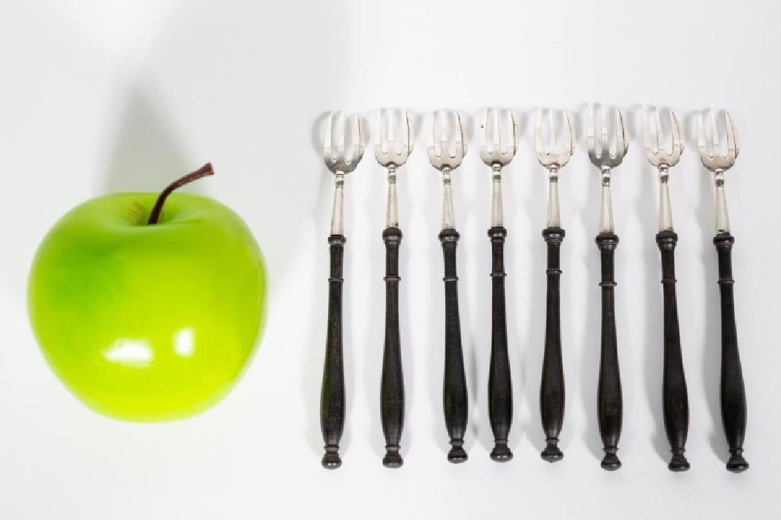 8 Irish Victorian Wood & Sterling Oyster Forks
