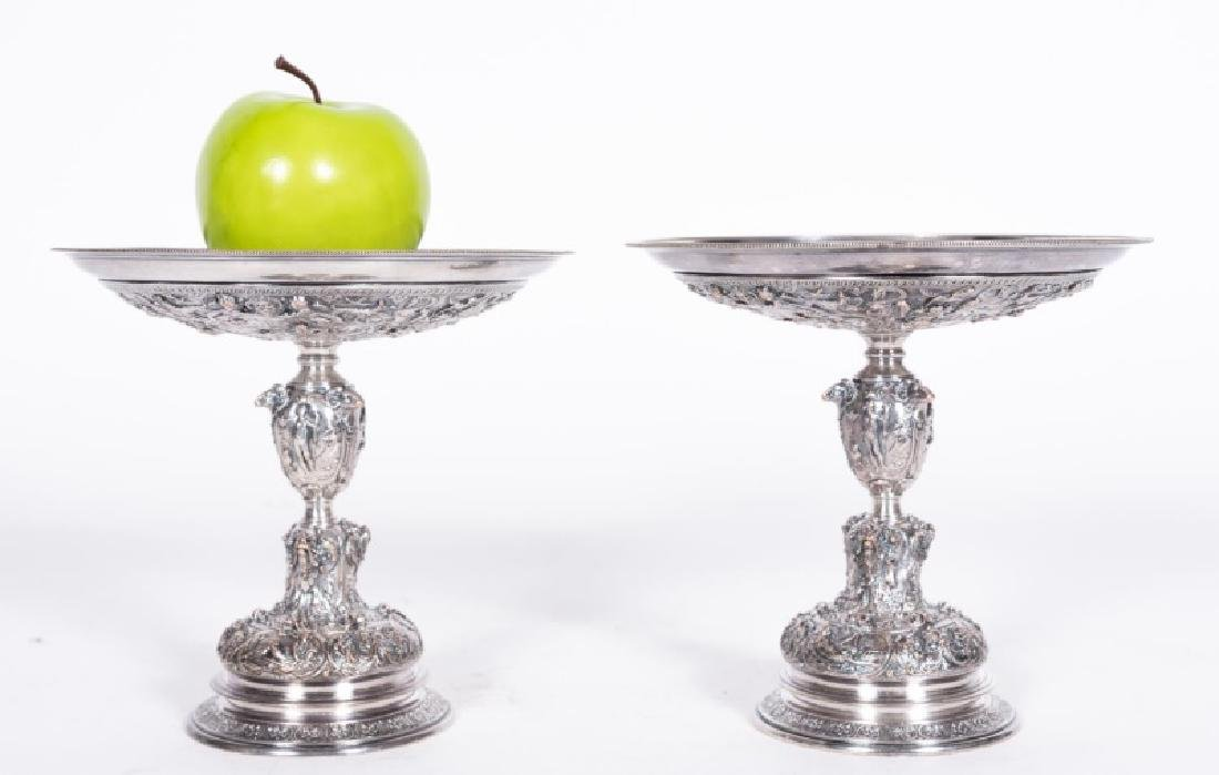 Pair, Late 19th C. Silver on Copper Tazzas