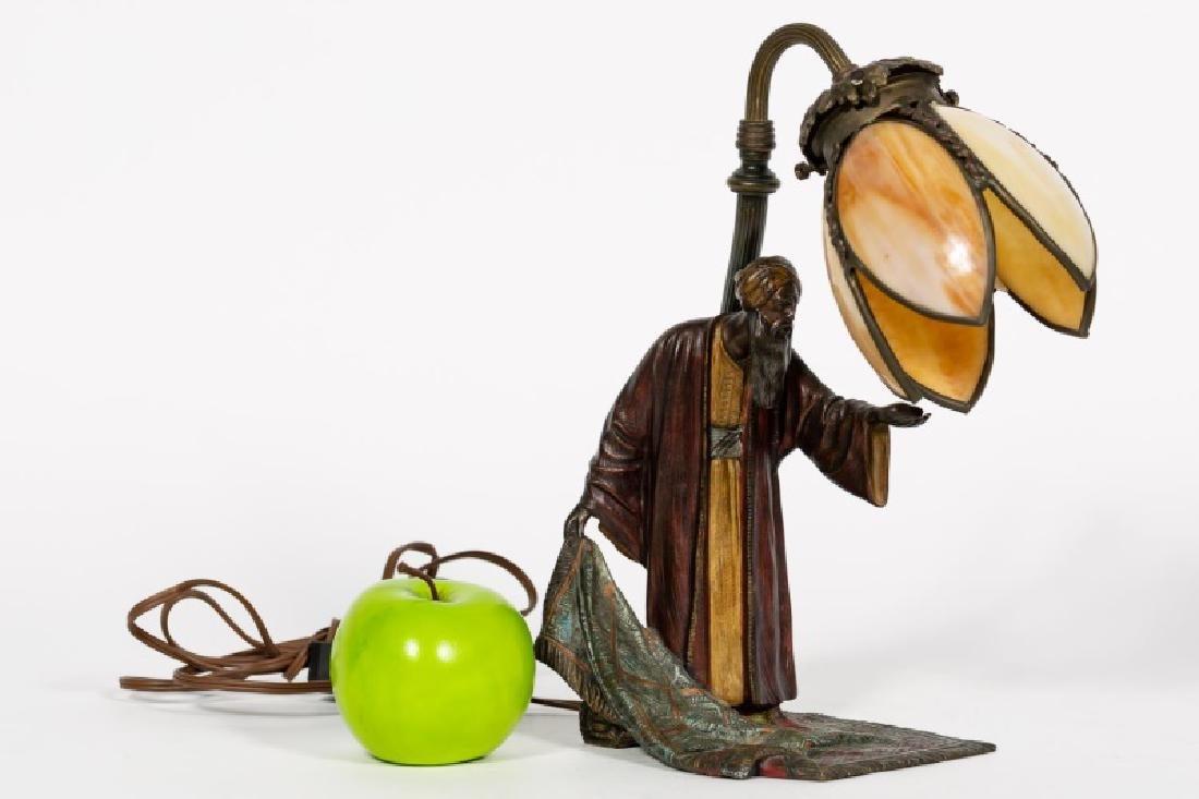 Austrian Cold-Painted Bronze Figural Lamp