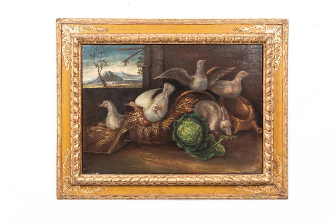 Continental School Oil on Canvas, Birds & Rabbit