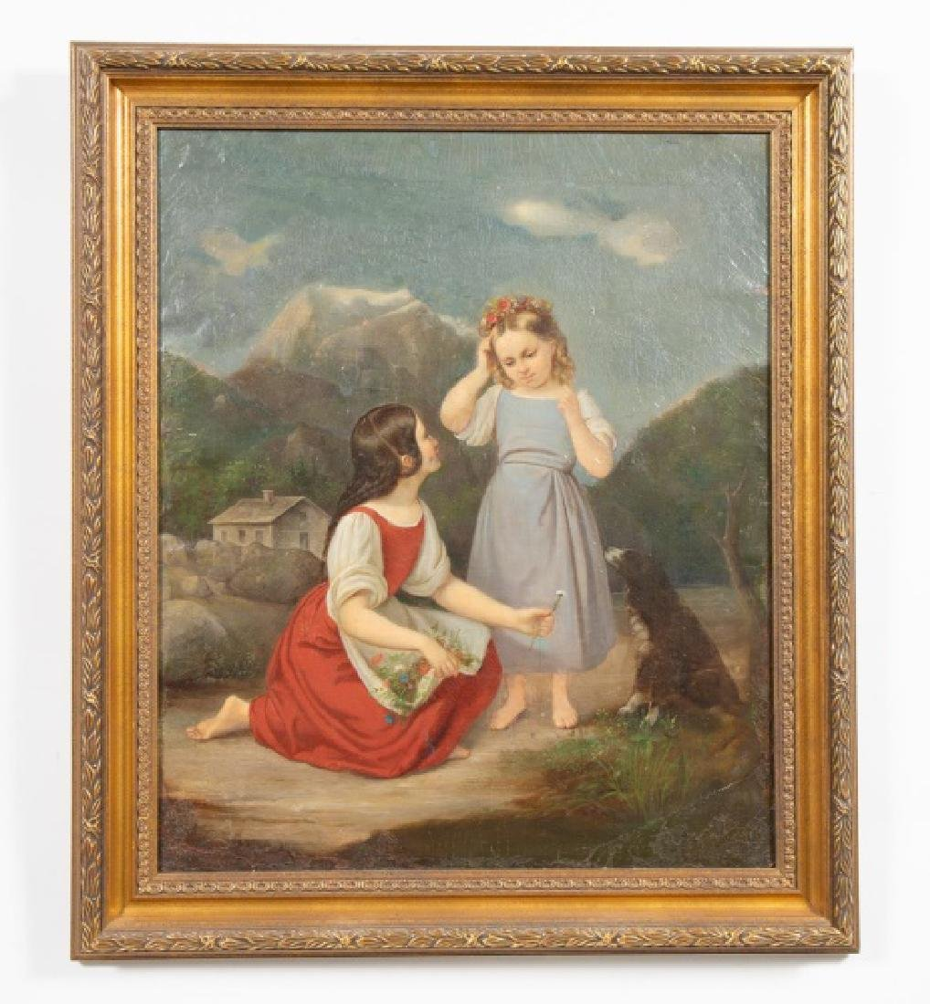 19th Century, Continental School Two Young Girls