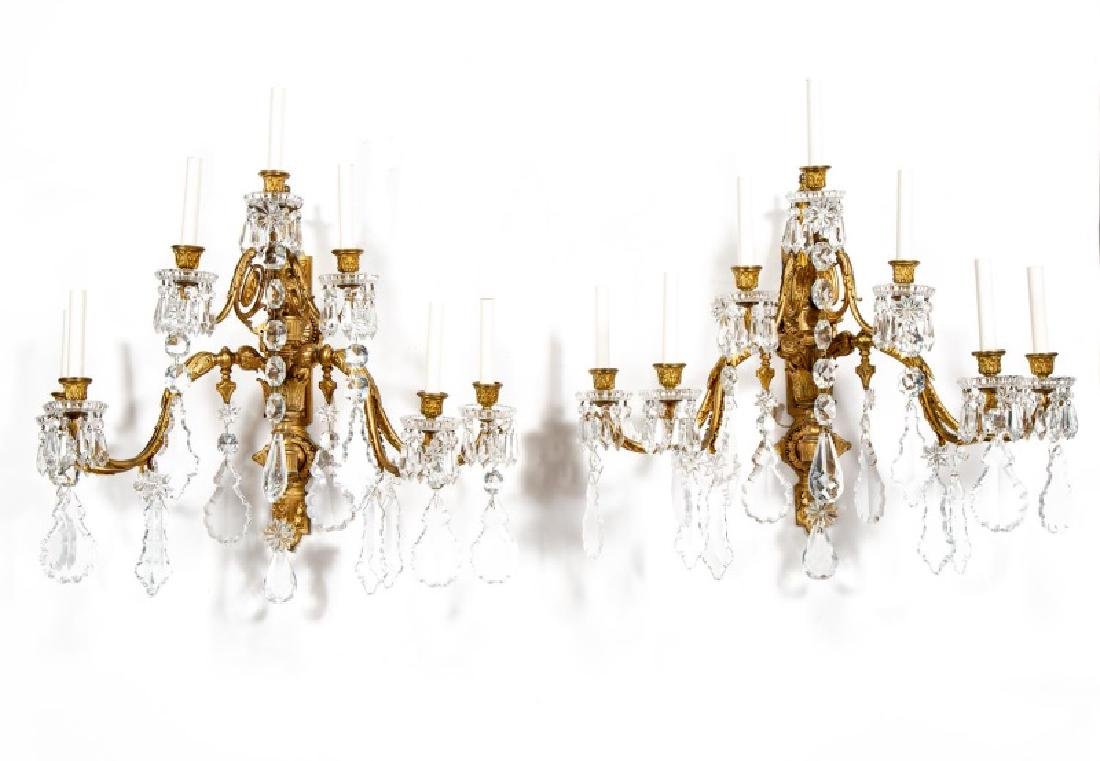 Pair, Baroque Style Bronze & Crystal Wall Sconces