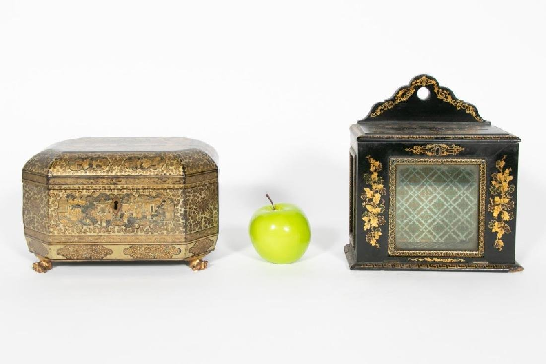 Chinese Export Lacquered Tea Caddy & Letter Box