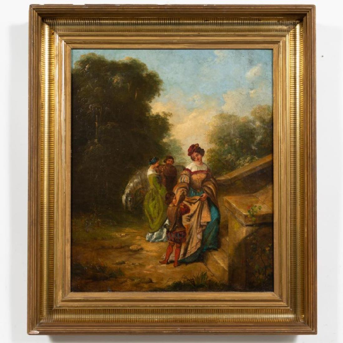 19th C. Pastoral Courting Scene, Oil on Canvas