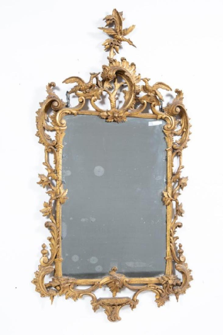 19th C. Chinese Chippendale Style Giltwood Mirror