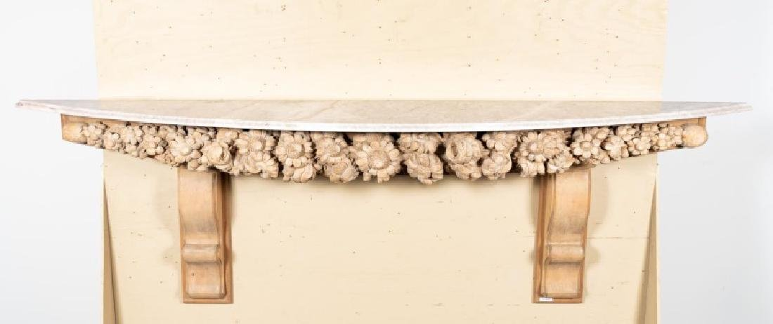 Grinling Gibbons Style Wood & Marble Top Console