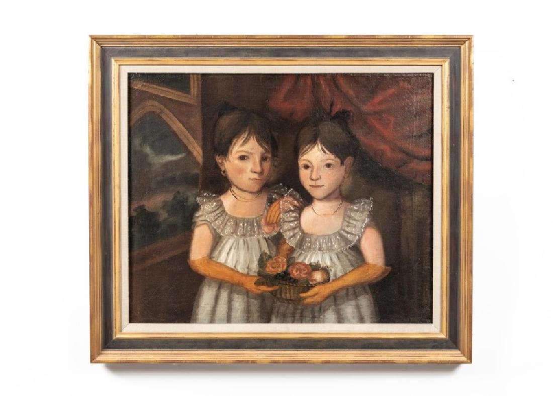 American Southern School Portrait of Two Sisters