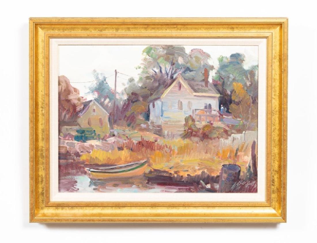 Bob Blue Oil on Canvas, Village & Boat
