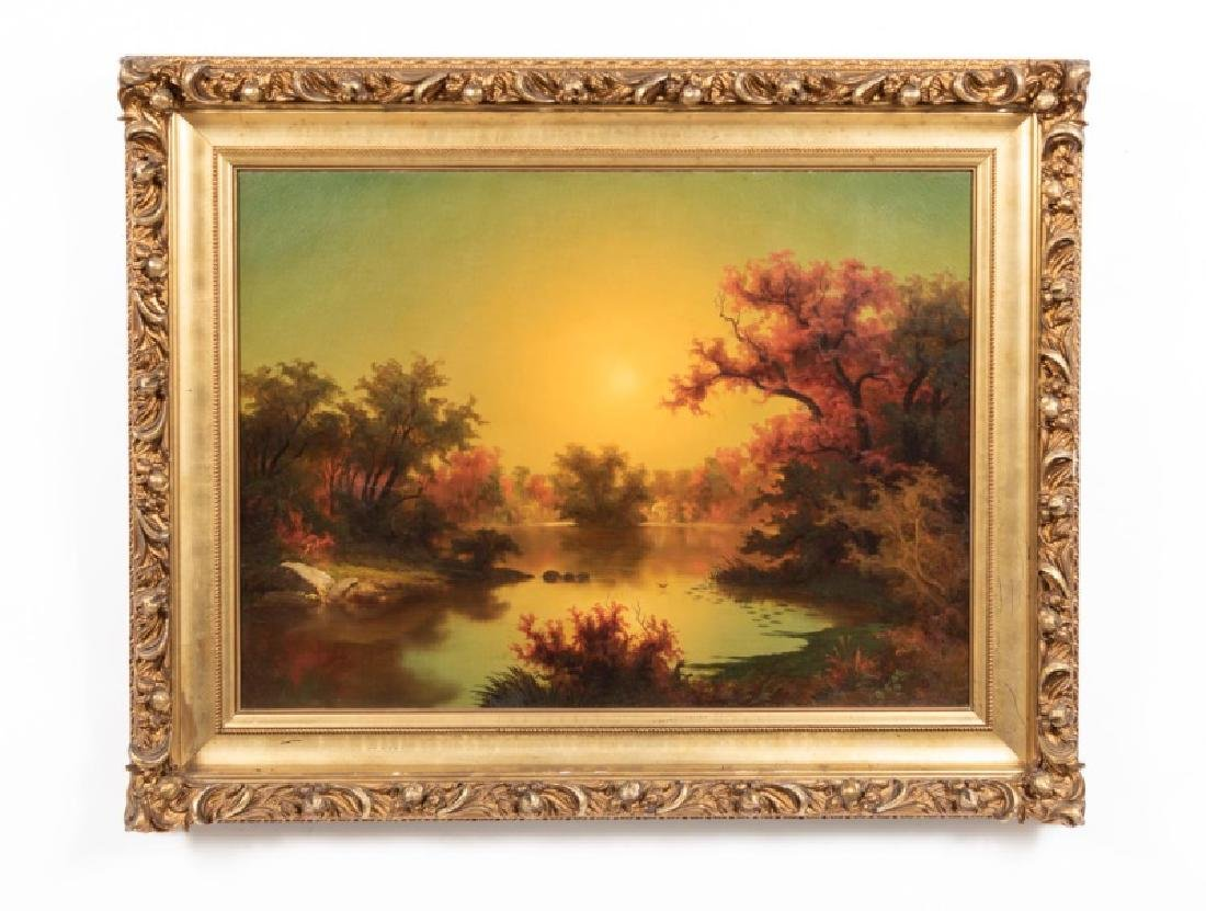 Late 19th C. O/C, Sunset Landscape with Lake
