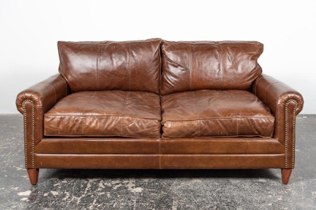 Ralph Lauren Brown Leather Loveseat