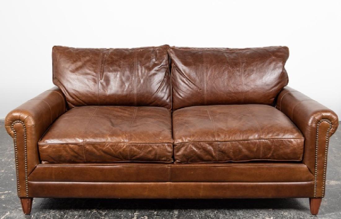 Ralph Lauren Brown Leather Vintage Loveseat