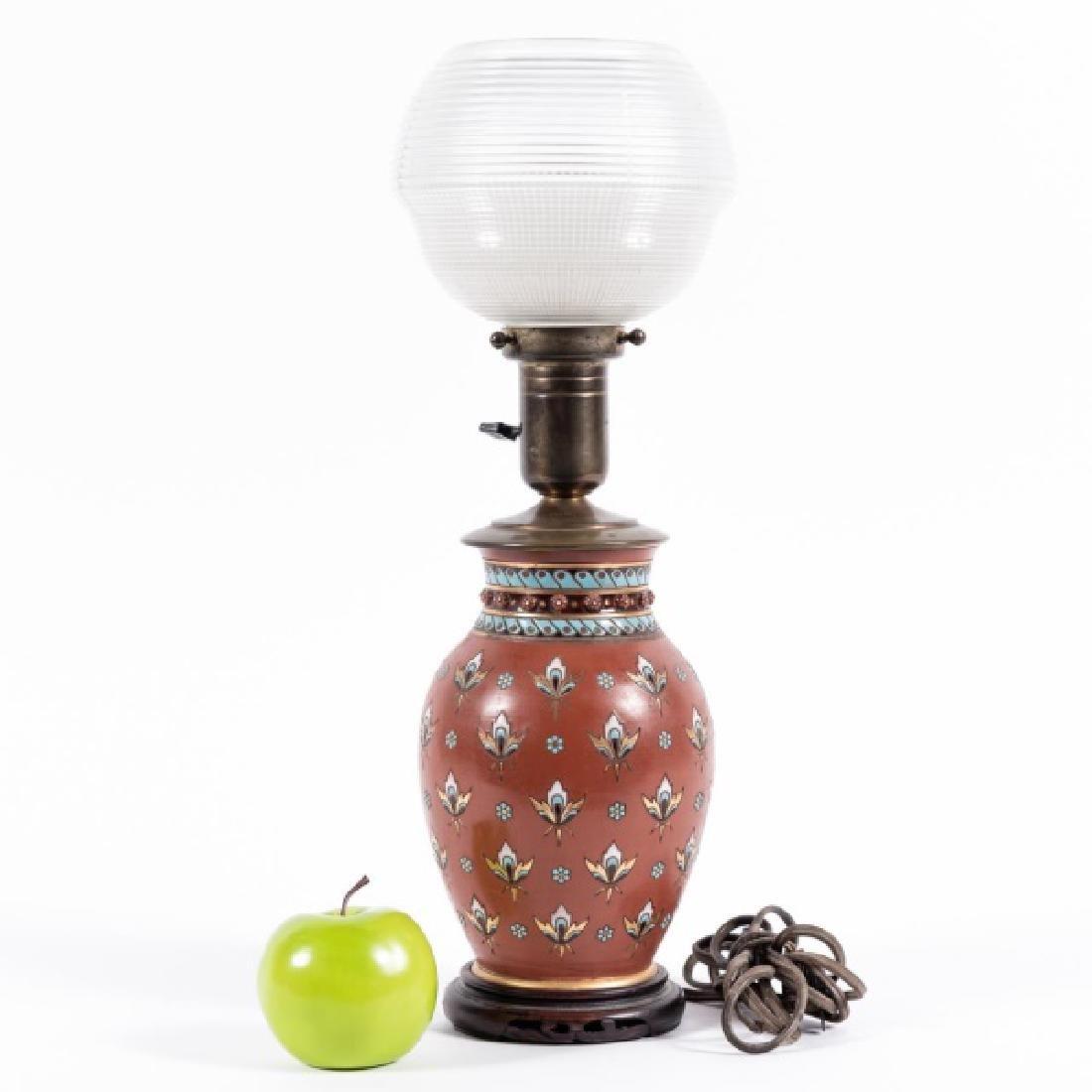 Doulton Lambeth Silicon Vase Mounted as a Lamp