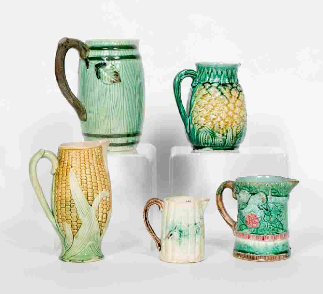 Group of 5 Majolica Handled Pitchers, 19th C.