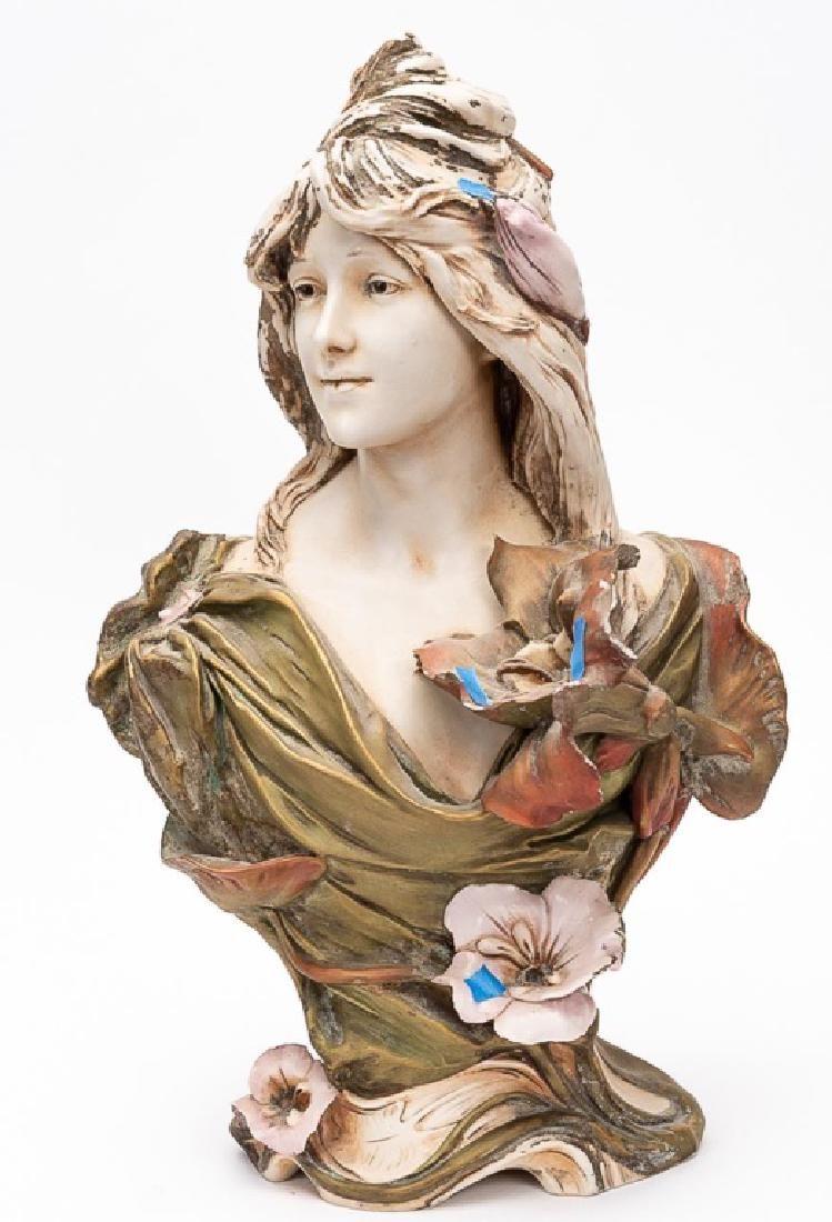 "Royal Dux Porcelain Bust of Lady, ""A Naiad"""
