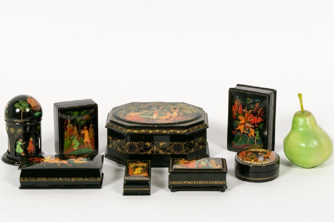 8 Russian Lacquered Boxes, Fairy Tales, Palekh