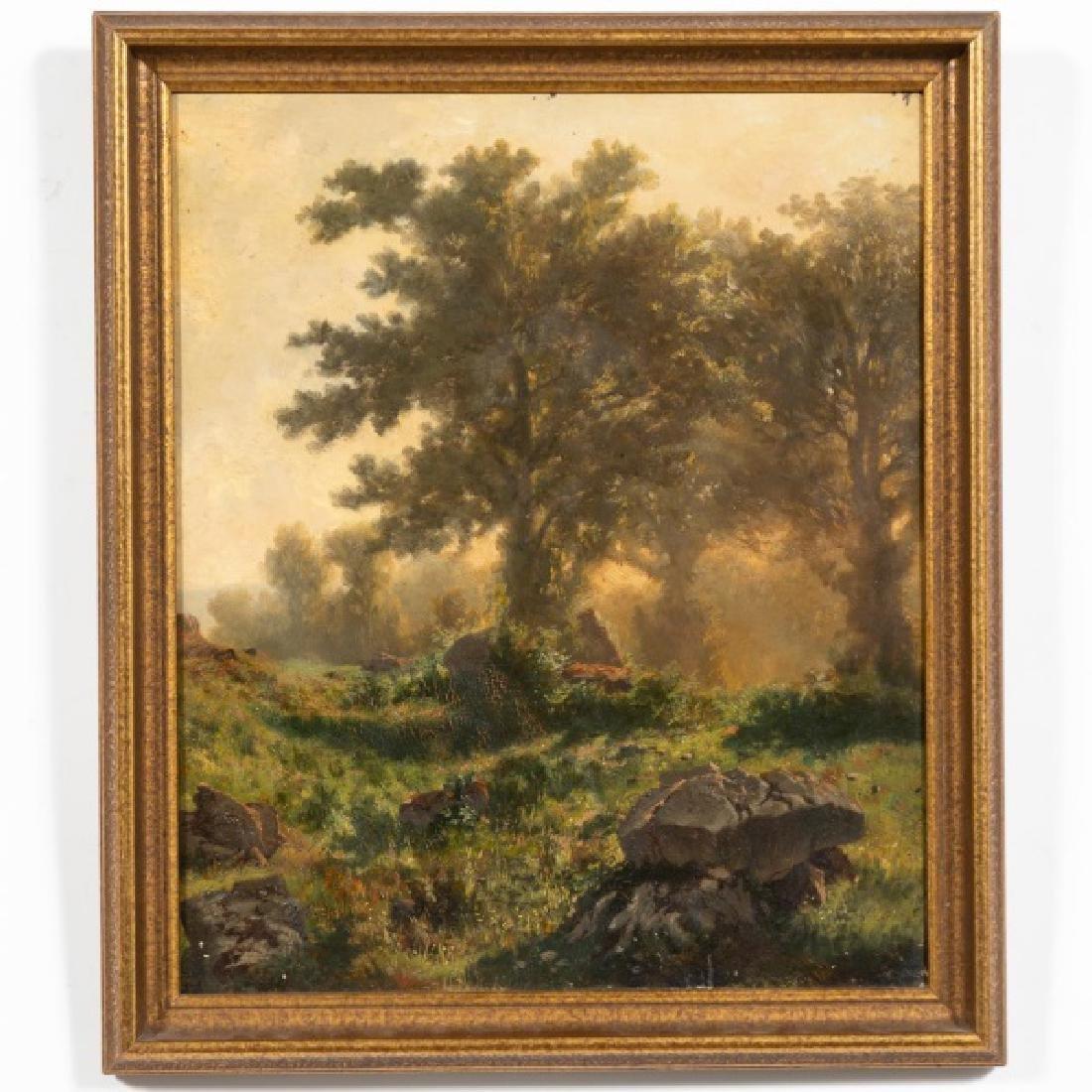 Signed French School O/C Landscape Scene, 1895