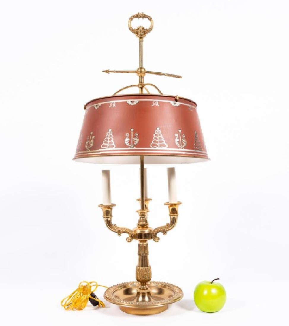 French Style Brass & Tole Bouillotte Table Lamp