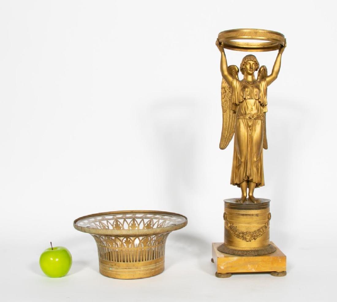 19th C. French Gilt Bronze Empire Figural Basket