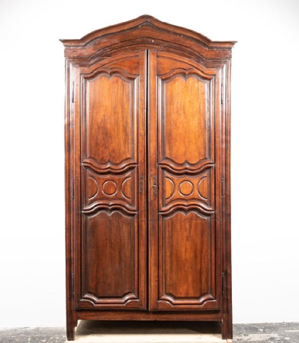 French Louis XIV Style Walnut Two Door Armoire