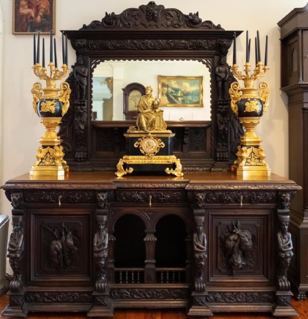 Late 19th C. Henri II Style Oak Sideboard Server