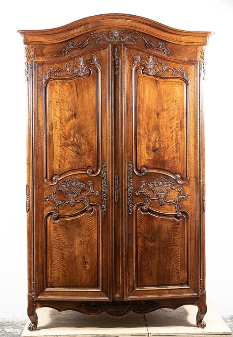 19th C. Louis XV Style Carved Walnut Armoire